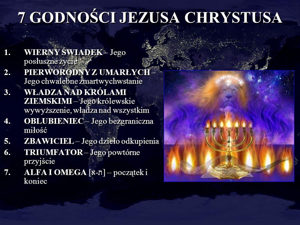 7 GODNOŚCI JEZUSA CHRYSTUSA 1.WIERNY ŚWIADEK – Jego posłuszne życie 2.PIERWORODNY Z UMARŁYCH – Jego chwalebne zmartwychwstanie 3.WŁADZA NAD KRÓLAMI ZI
