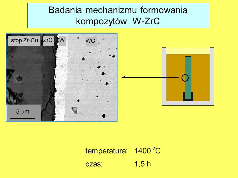 stop Zr-Cu ZrCW WC 5 mm temperatura: 1400 o C czas:1,5 h Badania mechanizmu formowania kompozytów W-ZrC