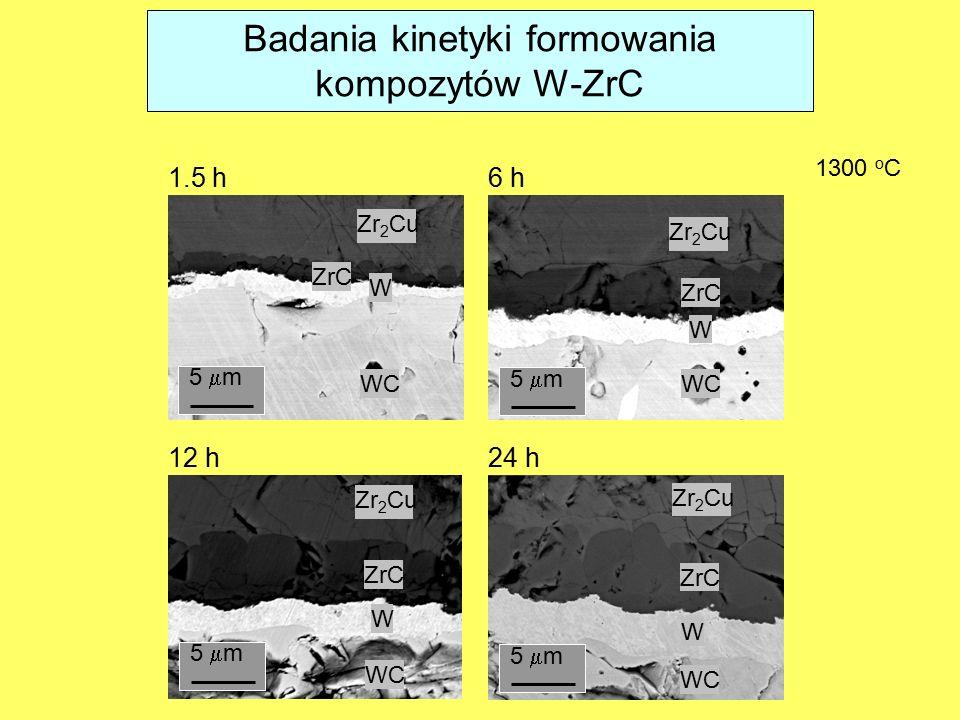 1300 o C 12 h24 h 1.5 h6 h WC W W W W ZrC Zr 2 Cu 5  m Badania kinetyki formowania kompozytów W-ZrC