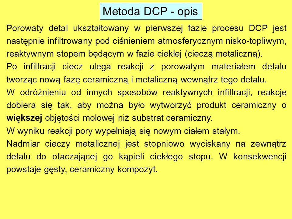 Porowaty detal ukształtowany w pierwszej fazie procesu DCP jest następnie infiltrowany pod ciśnieniem atmosferycznym nisko-topliwym, reaktywnym stopem