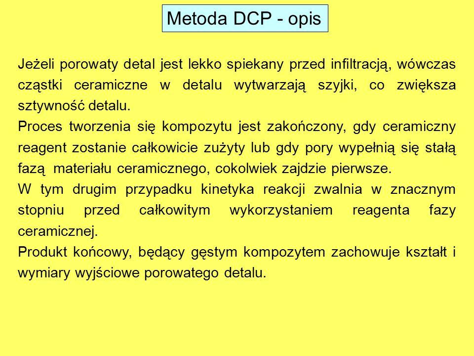 5 mm Przed reakcją Po reakcji zmiana wymiarów liniowych: 0,8 % zmiana objętości: 1,6 % Kompozyty W-ZrC otrzymane za pomocą metody DCP