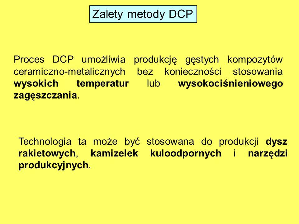 Metoda DCP kompozyty tlenek/metal lub tlenek/związek międzymetaliczny Na przykład Al 2 O 3 /Al-Si, Al 2 O 3 /TiAl 3, MgO/Mg-Al, i MgAl 2 O 4 /Fe-Ni-Al (900°–1200°C) kompozyty węglik (borek)/metal Na przykład gęsty ZrB 2 /ZrC/Zr (1850°–2000°C) gęsty kompozyt węglikowy ZrC x /WC/W (1300°C) Metodę DCP stosuje się do wytwarzania materiałów: