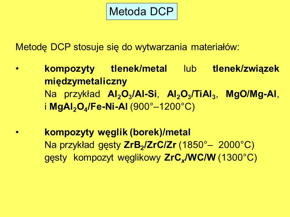 Kompozyty tlenek/metal i tlenek/związek międzymetaliczny Kompozyt ceramika/metal jest wytwarzany w procesie DCP na drodze reakcji pomiędzy ciekłym metalem i stałą substancją ceramiczną.