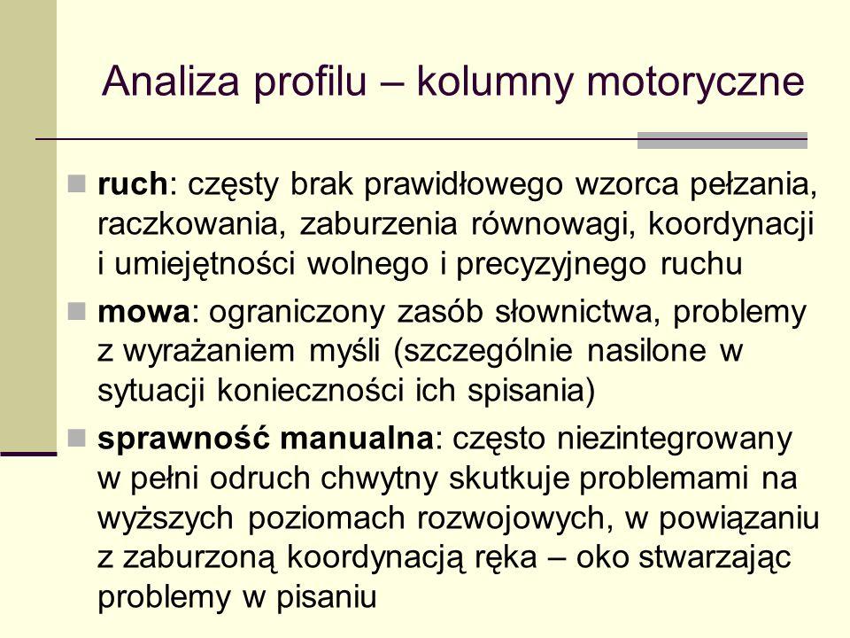 Analiza profilu – kolumny motoryczne ruch: częsty brak prawidłowego wzorca pełzania, raczkowania, zaburzenia równowagi, koordynacji i umiejętności wolnego i precyzyjnego ruchu mowa: ograniczony zasób słownictwa, problemy z wyrażaniem myśli (szczególnie nasilone w sytuacji konieczności ich spisania) sprawność manualna: często niezintegrowany w pełni odruch chwytny skutkuje problemami na wyższych poziomach rozwojowych, w powiązaniu z zaburzoną koordynacją ręka – oko stwarzając problemy w pisaniu