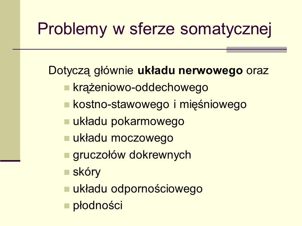 Problemy w sferze somatycznej Dotyczą głównie układu nerwowego oraz krążeniowo-oddechowego kostno-stawowego i mięśniowego układu pokarmowego układu moczowego gruczołów dokrewnych skóry układu odpornościowego płodności