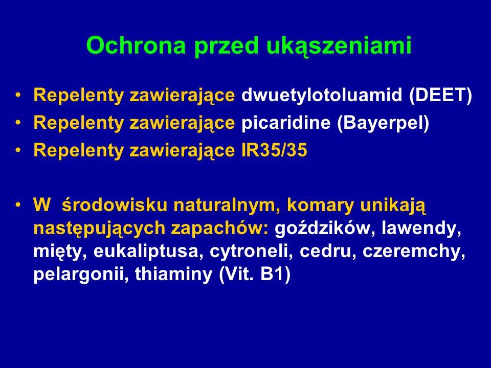 Ochrona przed ukąszeniami Repelenty zawierające dwuetylotoluamid (DEET) Repelenty zawierające picaridine (Bayerpel) Repelenty zawierające IR35/35 W środowisku naturalnym, komary unikają następujących zapachów: goździków, lawendy, mięty, eukaliptusa, cytroneli, cedru, czeremchy, pelargonii, thiaminy (Vit.