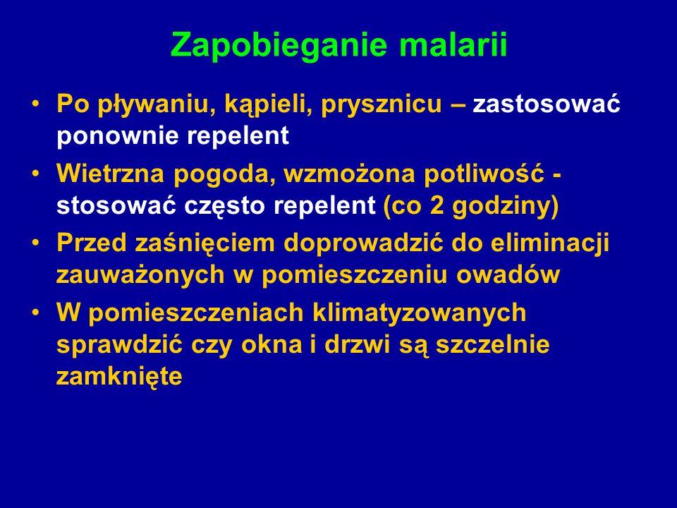 Zapobieganie malarii Po pływaniu, kąpieli, prysznicu – zastosować ponownie repelent Wietrzna pogoda, wzmożona potliwość - stosować często repelent (co 2 godziny) Przed zaśnięciem doprowadzić do eliminacji zauważonych w pomieszczeniu owadów W pomieszczeniach klimatyzowanych sprawdzić czy okna i drzwi są szczelnie zamknięte