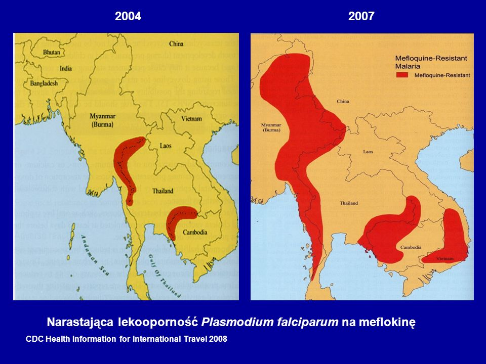 20042007 Narastająca lekooporność Plasmodium falciparum na meflokinę CDC Health Information for International Travel 2008