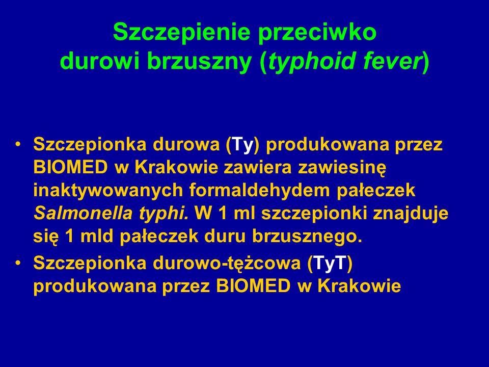 Szczepienie przeciwko durowi brzuszny (typhoid fever) Szczepionka durowa (Ty) produkowana przez BIOMED w Krakowie zawiera zawiesinę inaktywowanych formaldehydem pałeczek Salmonella typhi.