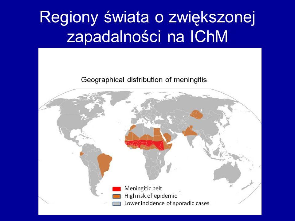 Regiony świata o zwiększonej zapadalności na IChM