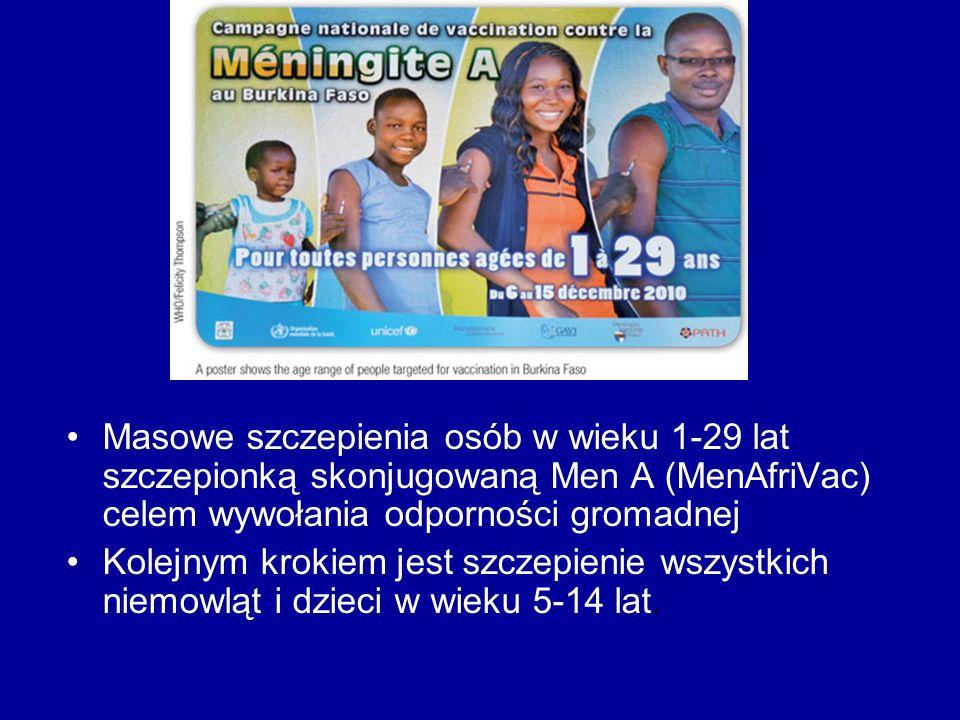 Masowe szczepienia osób w wieku 1-29 lat szczepionką skonjugowaną Men A (MenAfriVac) celem wywołania odporności gromadnej Kolejnym krokiem jest szczepienie wszystkich niemowląt i dzieci w wieku 5-14 lat.