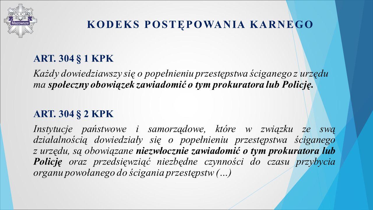 ART. 304 § 1 KPK Każdy dowiedziawszy się o popełnieniu przestępstwa ściganego z urzędu ma społeczny obowiązek zawiadomić o tym prokuratora lub Policję