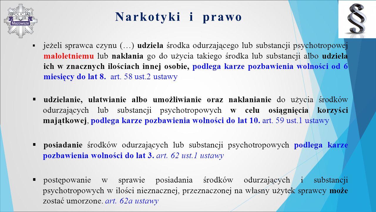 Narkotyki i prawo  jeżeli sprawca czynu (…) udziela środka odurzającego lub substancji psychotropowej małoletniemu lub nakłania go do użycia takiego