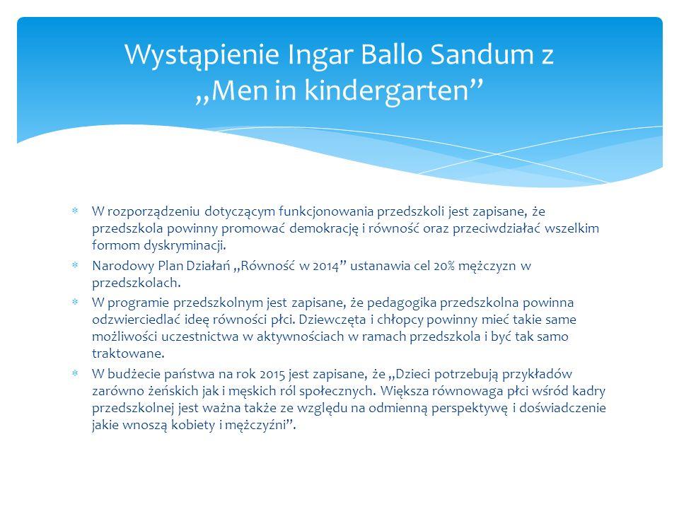  W rozporządzeniu dotyczącym funkcjonowania przedszkoli jest zapisane, że przedszkola powinny promować demokrację i równość oraz przeciwdziałać wszelkim formom dyskryminacji.