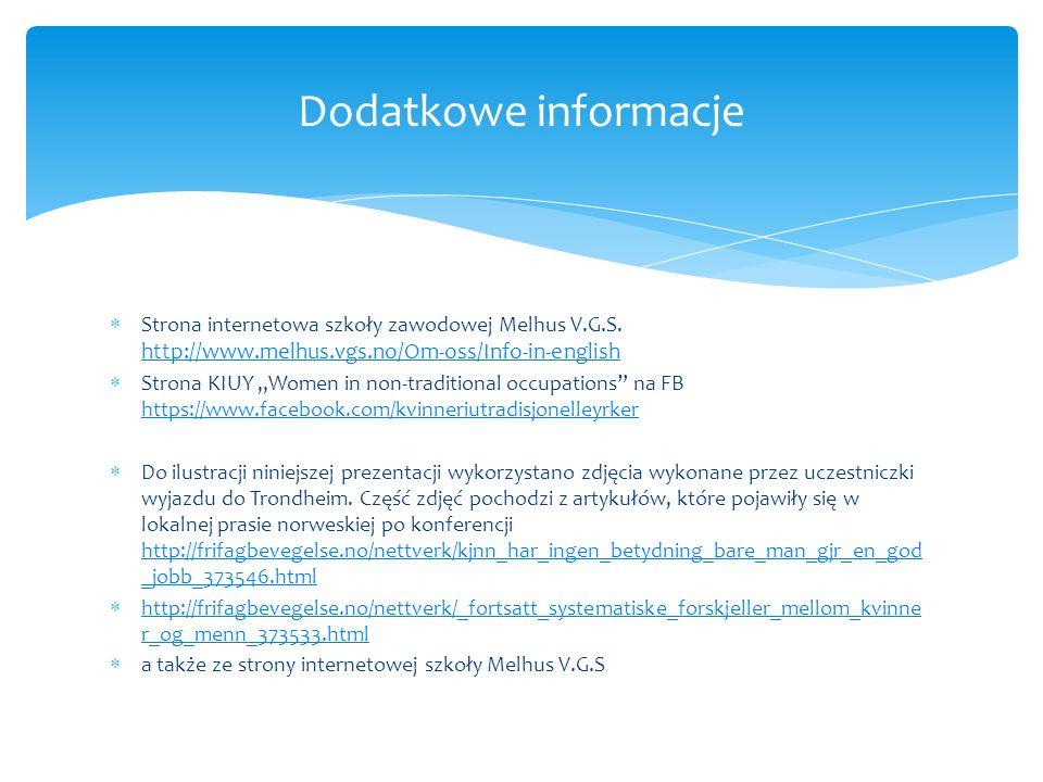  Strona internetowa szkoły zawodowej Melhus V.G.S.