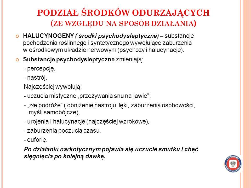 PODZIAŁ ŚRODKÓW ODURZAJĄCYCH ( ZE WZGLĘDU NA SPOSÓB DZIAŁANIA ) HALUCYNOGENY ( środki psychodysleptyczne) – substancje pochodzenia roślinnego i syntetycznego wywołujące zaburzenia w ośrodkowym układzie nerwowym (psychozy i halucynacje).