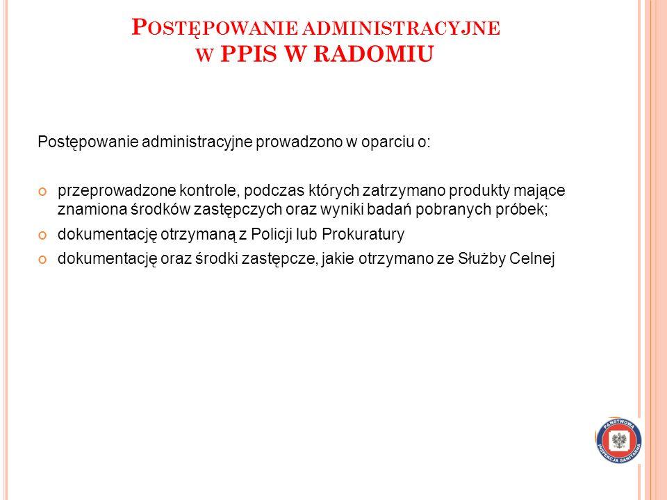 P OSTĘPOWANIE ADMINISTRACYJNE W PPIS W RADOMIU Postępowanie administracyjne prowadzono w oparciu o: przeprowadzone kontrole, podczas których zatrzyman