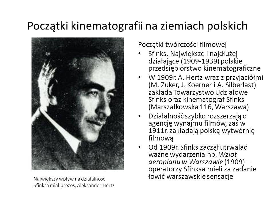 Początki kinematografii na ziemiach polskich Początki twórczości filmowej Sfinks. Największe i najdłużej działające (1909-1939) polskie przedsiębiorst