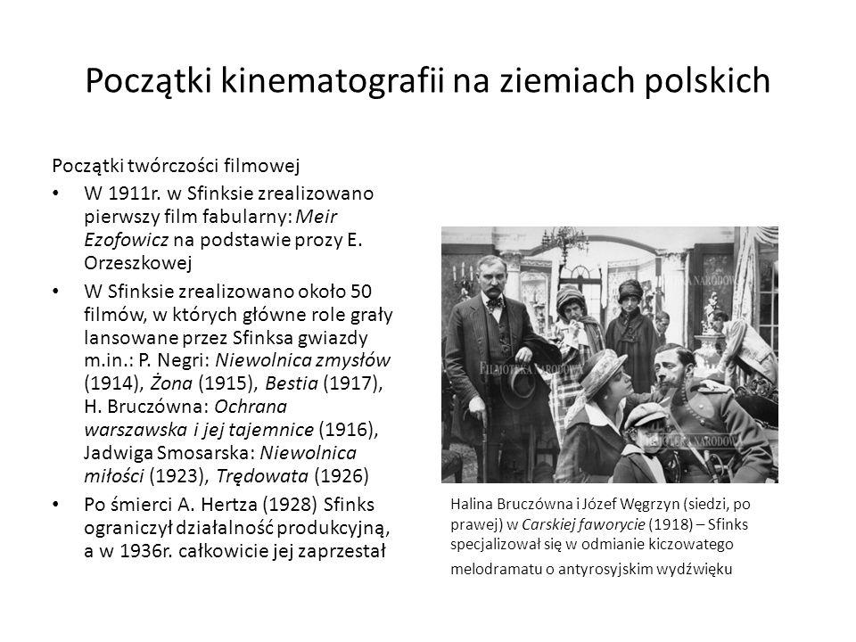 Początki kinematografii na ziemiach polskich Początki twórczości filmowej W 1911r. w Sfinksie zrealizowano pierwszy film fabularny: Meir Ezofowicz na