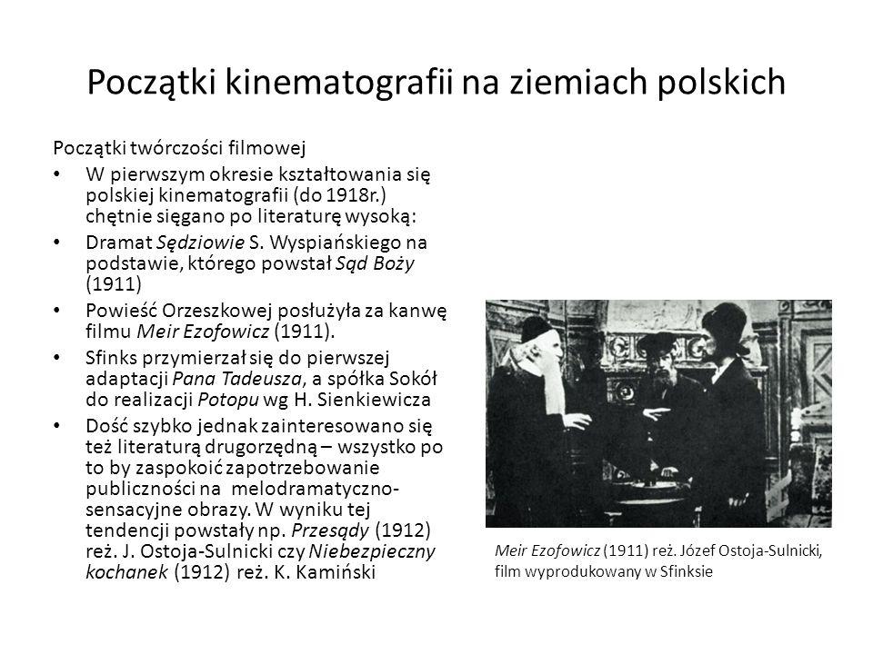 Początki kinematografii na ziemiach polskich Początki twórczości filmowej W pierwszym okresie kształtowania się polskiej kinematografii (do 1918r.) ch