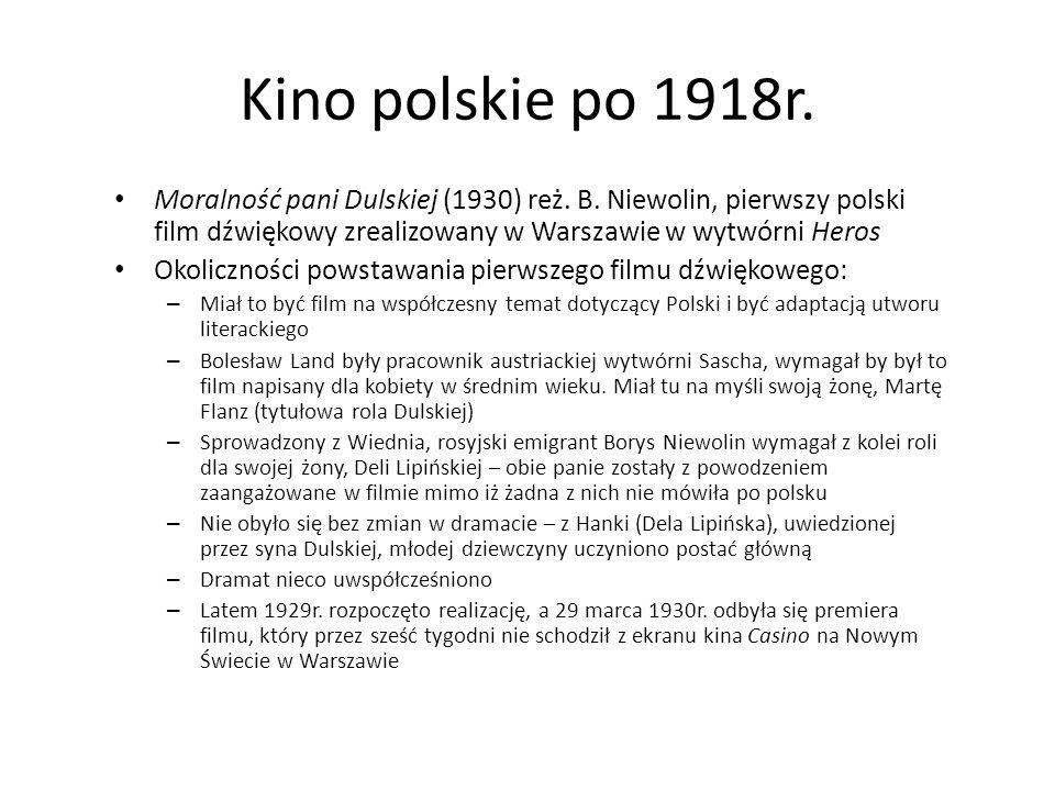Kino polskie po 1918r. Moralność pani Dulskiej (1930) reż. B. Niewolin, pierwszy polski film dźwiękowy zrealizowany w Warszawie w wytwórni Heros Okoli