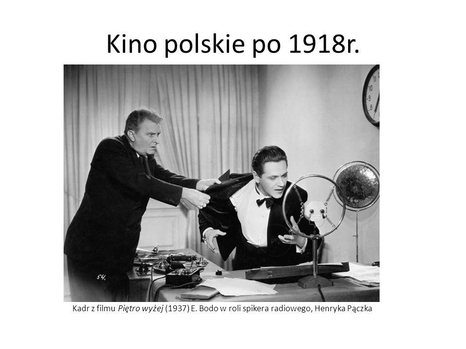 Kino polskie po 1918r. Kadr z filmu Piętro wyżej (1937) E. Bodo w roli spikera radiowego, Henryka Pączka