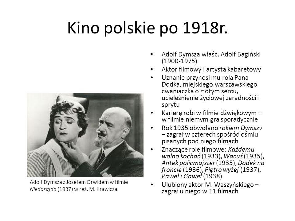 Kino polskie po 1918r. Adolf Dymsza właśc. Adolf Bagiński (1900-1975) Aktor filmowy i artysta kabaretowy Uznanie przynosi mu rola Pana Dodka, miejskie