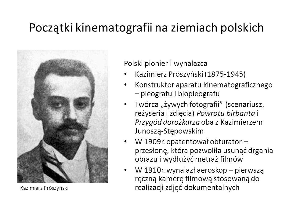 Początki kinematografii na ziemiach polskich Polski pionier i wynalazca Kazimierz Prószyński (1875-1945) Konstruktor aparatu kinematograficznego – ple