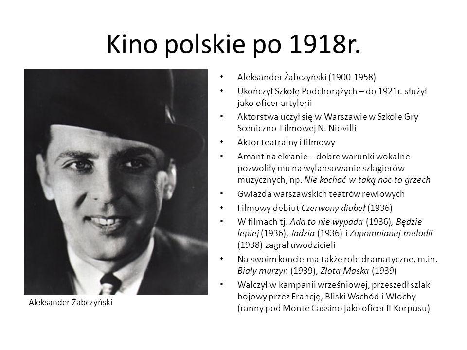 Kino polskie po 1918r. Aleksander Żabczyński (1900-1958) Ukończył Szkołę Podchorążych – do 1921r. służył jako oficer artylerii Aktorstwa uczył się w W