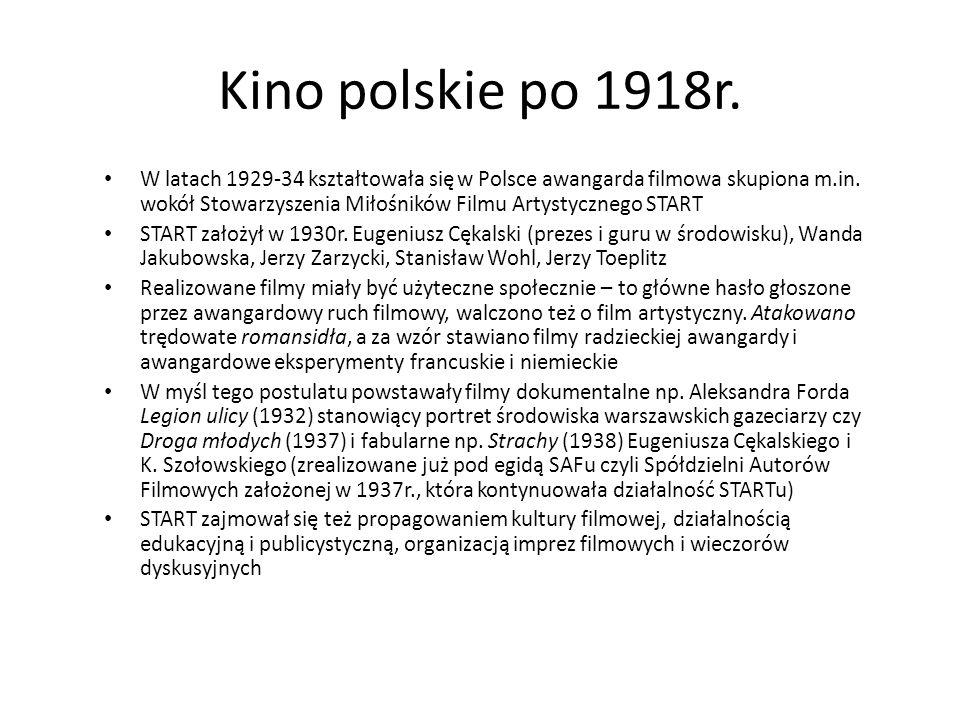 Kino polskie po 1918r. W latach 1929-34 kształtowała się w Polsce awangarda filmowa skupiona m.in. wokół Stowarzyszenia Miłośników Filmu Artystycznego