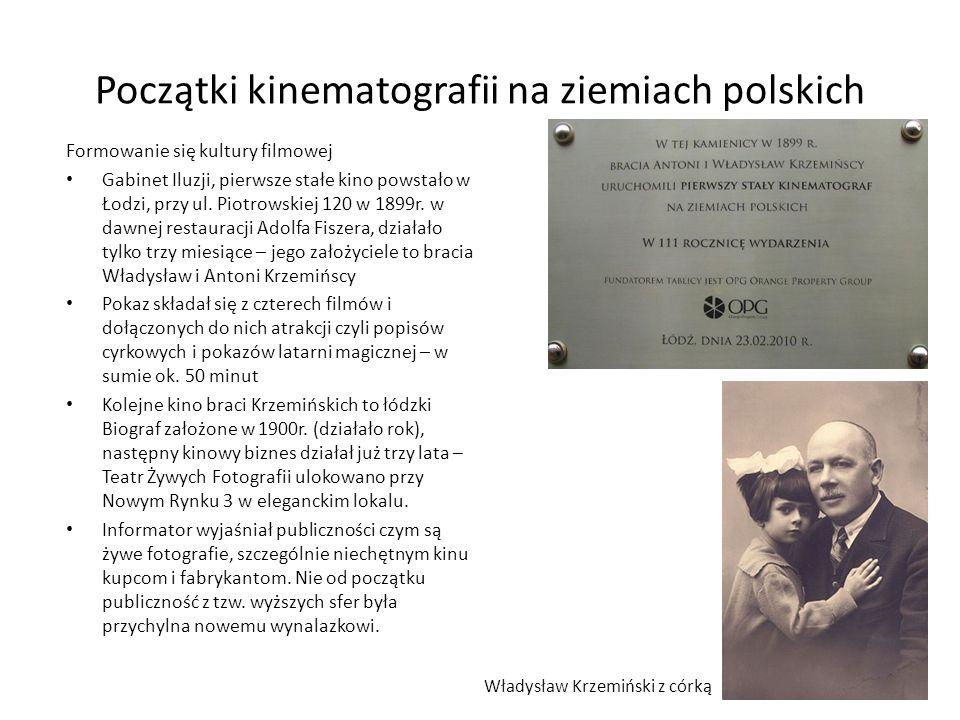 Początki kinematografii na ziemiach polskich Początki twórczości filmowej W pierwszym okresie kształtowania się polskiej kinematografii (do 1918r.) chętnie sięgano po literaturę wysoką: Dramat Sędziowie S.