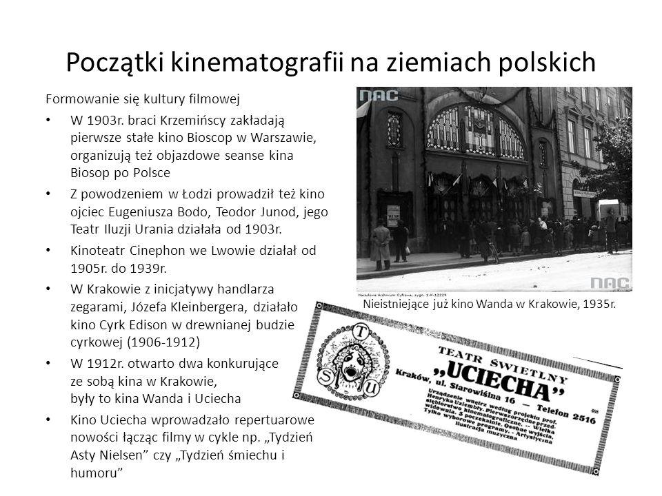 Początki kinematografii na ziemiach polskich Formowanie się kultury filmowej W 1903r. braci Krzemińscy zakładają pierwsze stałe kino Bioscop w Warszaw