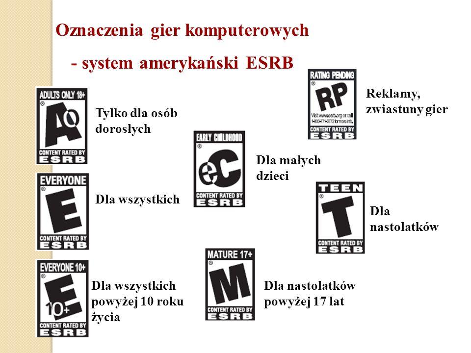 Oznaczenia gier komputerowych - system amerykański ESRB Tylko dla osób dorosłych Dla wszystkich Dla wszystkich powyżej 10 roku życia Dla małych dzieci Dla nastolatków powyżej 17 lat Dla nastolatków Reklamy, zwiastuny gier