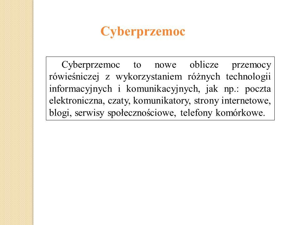 Cyberprzemoc Cyberprzemoc to nowe oblicze przemocy rówieśniczej z wykorzystaniem różnych technologii informacyjnych i komunikacyjnych, jak np.: poczta elektroniczna, czaty, komunikatory, strony internetowe, blogi, serwisy społecznościowe, telefony komórkowe.