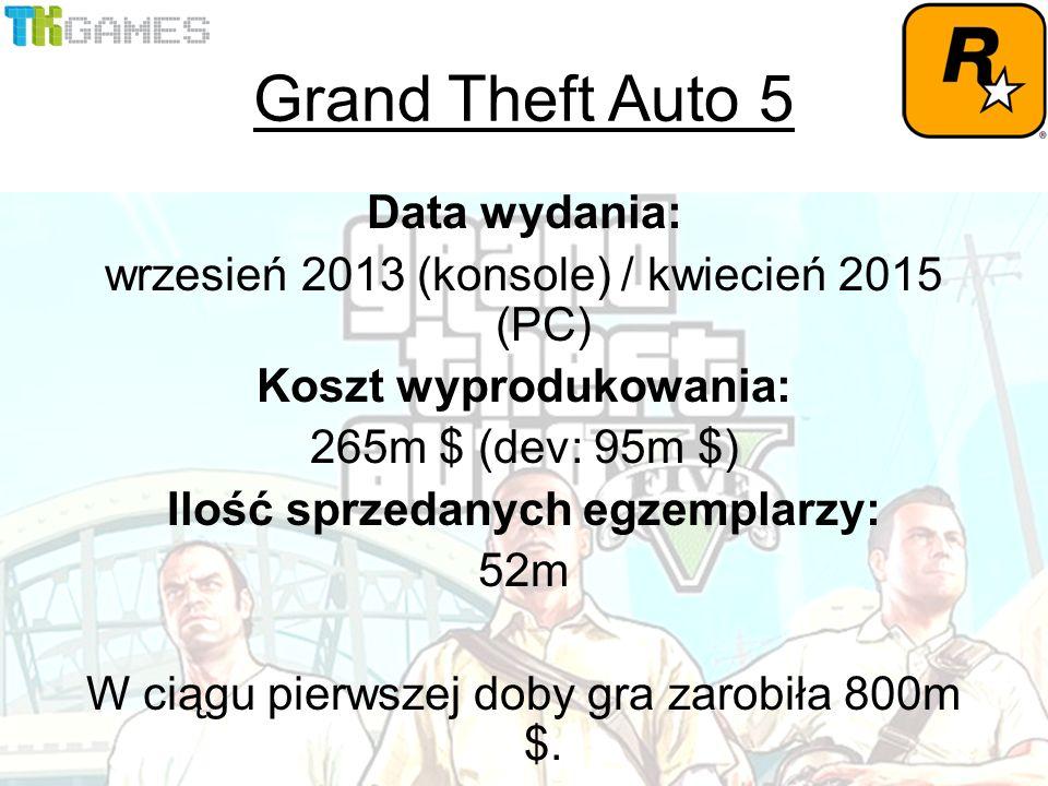 Data wydania: wrzesień 2013 (konsole) / kwiecień 2015 (PC) Koszt wyprodukowania: 265m $ (dev: 95m $) Ilość sprzedanych egzemplarzy: 52m W ciągu pierwszej doby gra zarobiła 800m $.