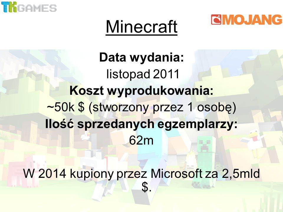 Data wydania: listopad 2011 Koszt wyprodukowania: ~50k $ (stworzony przez 1 osobę) Ilość sprzedanych egzemplarzy: 62m W 2014 kupiony przez Microsoft za 2,5mld $.