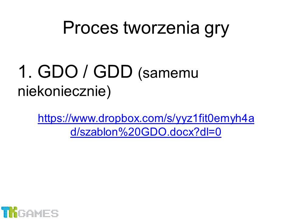 1. GDO / GDD (samemu niekoniecznie) Proces tworzenia gry https://www.dropbox.com/s/yyz1fit0emyh4a d/szablon%20GDO.docx?dl=0