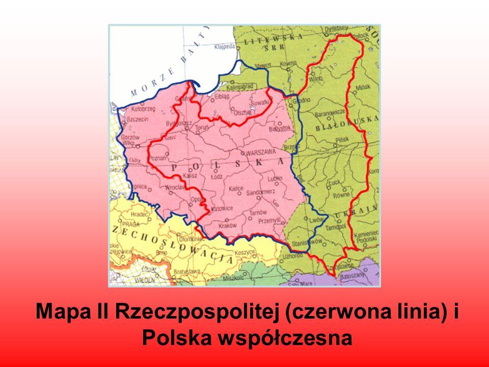 Mapa II Rzeczpospolitej (czerwona linia) i Polska współczesna