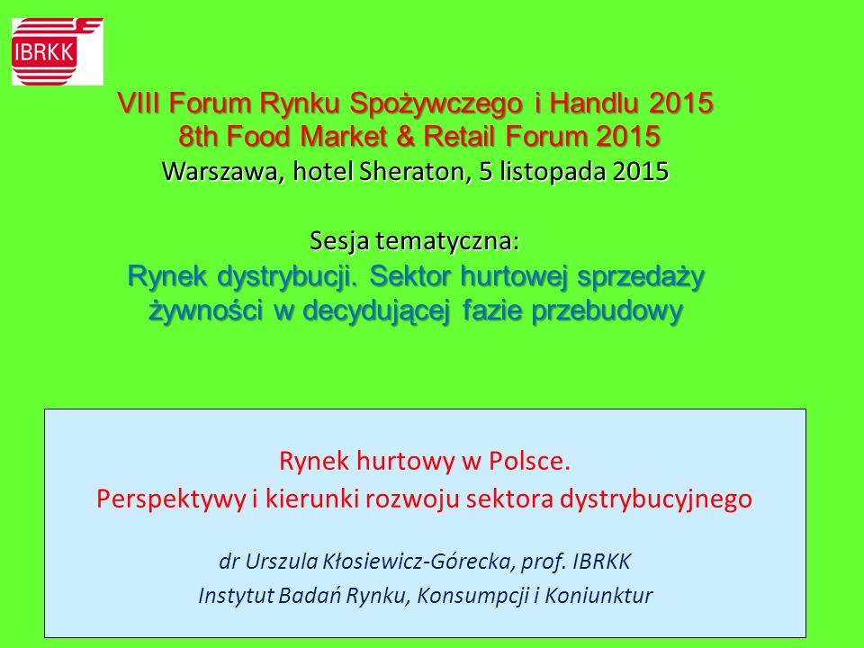  W sferze hurtu artykułami żywnościowymi w Polsce zachodzą zmiany ilościowe i jakościowe, obejmujące zadania hurtu, pełnione role, posiadane zasoby, formy organizacji.