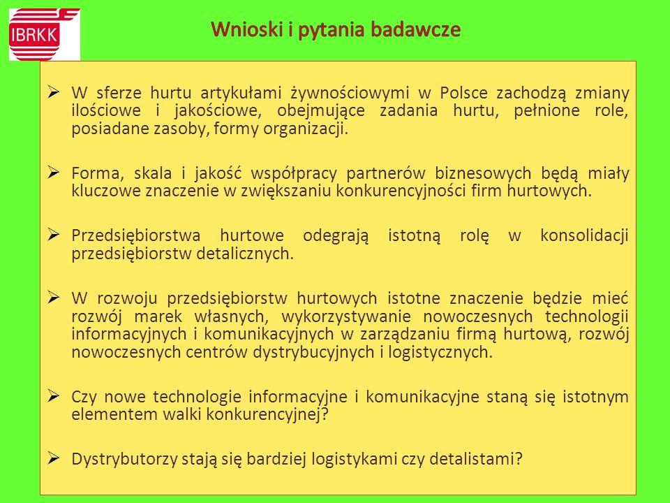  W sferze hurtu artykułami żywnościowymi w Polsce zachodzą zmiany ilościowe i jakościowe, obejmujące zadania hurtu, pełnione role, posiadane zasoby,
