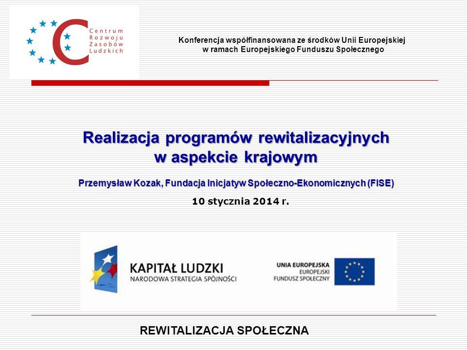 Realizacja programów rewitalizacyjnych w aspekcie krajowym Przemysław Kozak, Fundacja Inicjatyw Społeczno-Ekonomicznych (FISE) Konferencja współfinans