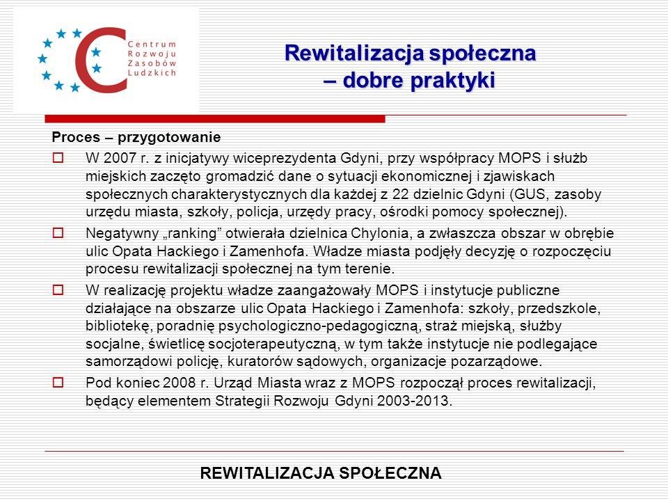 Proces – przygotowanie  W 2007 r. z inicjatywy wiceprezydenta Gdyni, przy współpracy MOPS i służb miejskich zaczęto gromadzić dane o sytuacji ekonomi