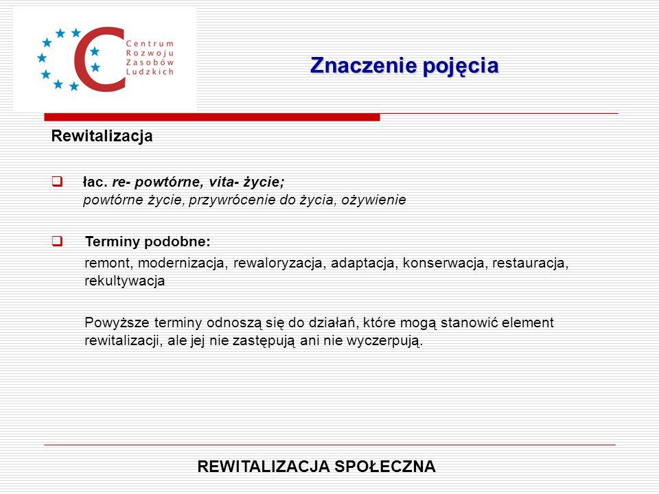 Rewitalizacja  łac. re- powtórne, vita- życie; powtórne życie, przywrócenie do życia, ożywienie  Terminy podobne: remont, modernizacja, rewaloryzacj