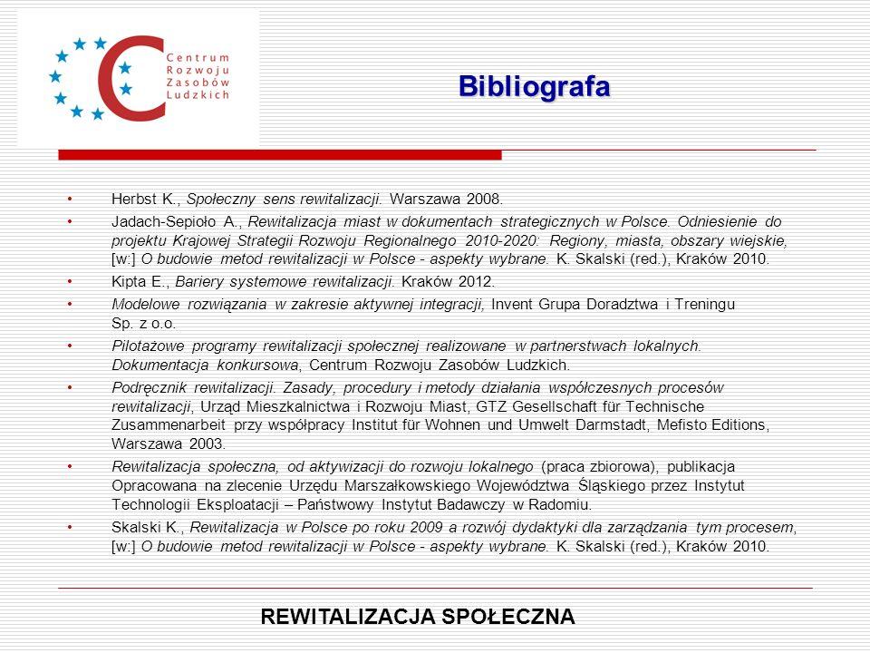 Herbst K., Społeczny sens rewitalizacji. Warszawa 2008. Jadach-Sepioło A., Rewitalizacja miast w dokumentach strategicznych w Polsce. Odniesienie do p