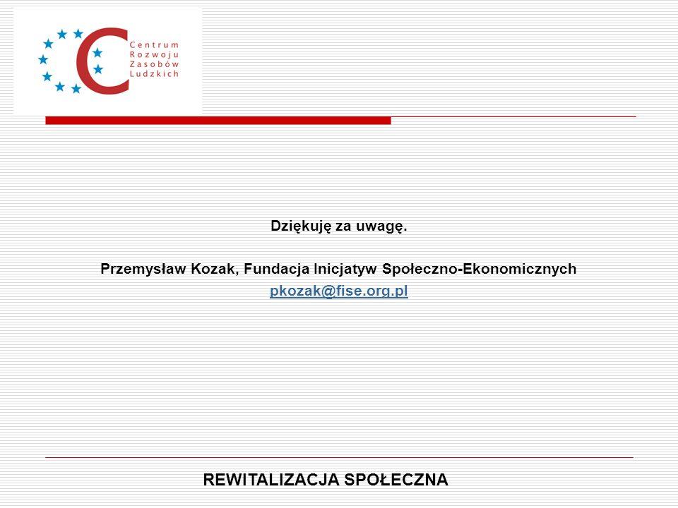 Dziękuję za uwagę. Przemysław Kozak, Fundacja Inicjatyw Społeczno-Ekonomicznych pkozak@fise.org.pl REWITALIZACJA SPOŁECZNA