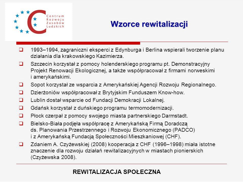  1993–1994, zagraniczni eksperci z Edynburga i Berlina wspierali tworzenie planu działania dla krakowskiego Kazimierza.  Szczecin korzystał z pomocy
