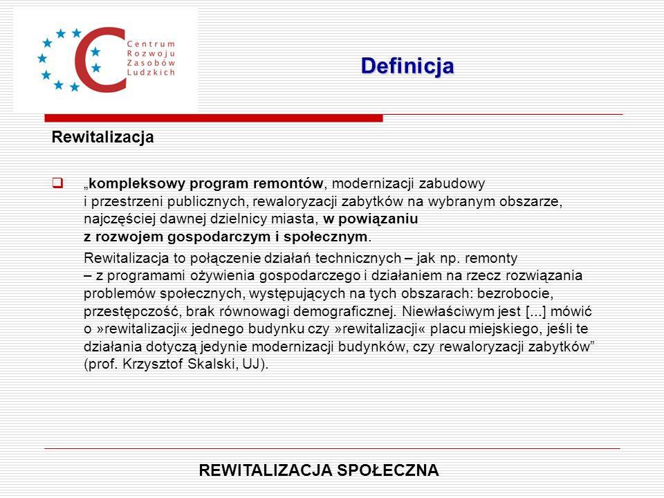 """Rewitalizacja  """"kompleksowy program remontów, modernizacji zabudowy i przestrzeni publicznych, rewaloryzacji zabytków na wybranym obszarze, najczęści"""