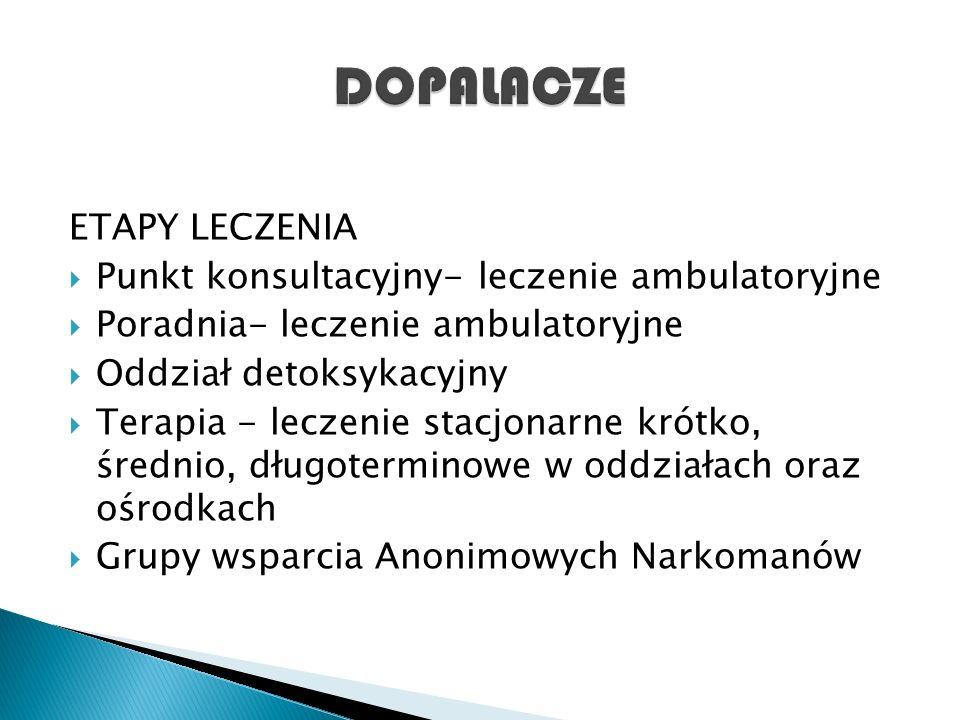 ETAPY LECZENIA  Punkt konsultacyjny- leczenie ambulatoryjne  Poradnia- leczenie ambulatoryjne  Oddział detoksykacyjny  Terapia - leczenie stacjona