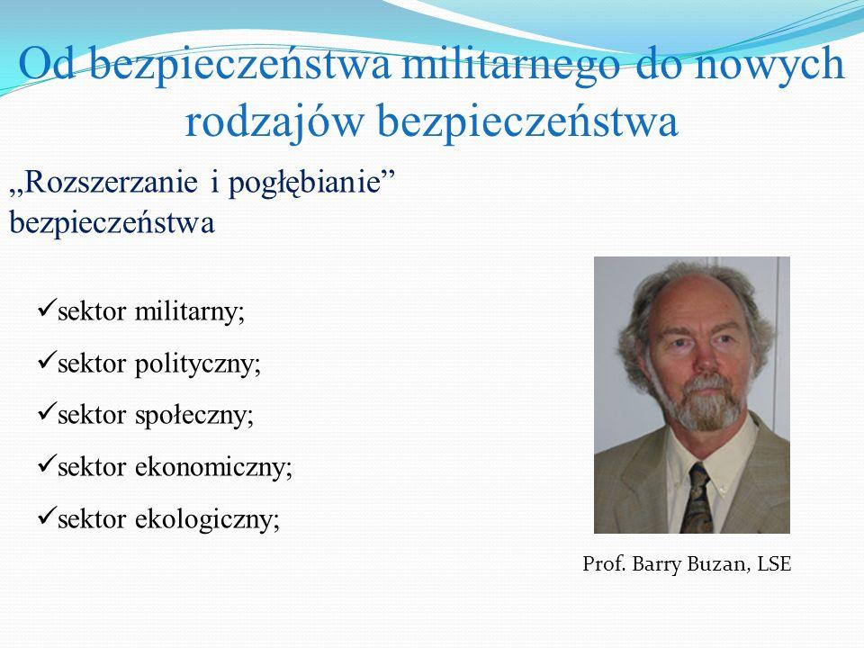 """Od bezpieczeństwa militarnego do nowych rodzajów bezpieczeństwa """"Rozszerzanie i pogłębianie"""" bezpieczeństwa Prof. Barry Buzan, LSE sektor militarny; s"""