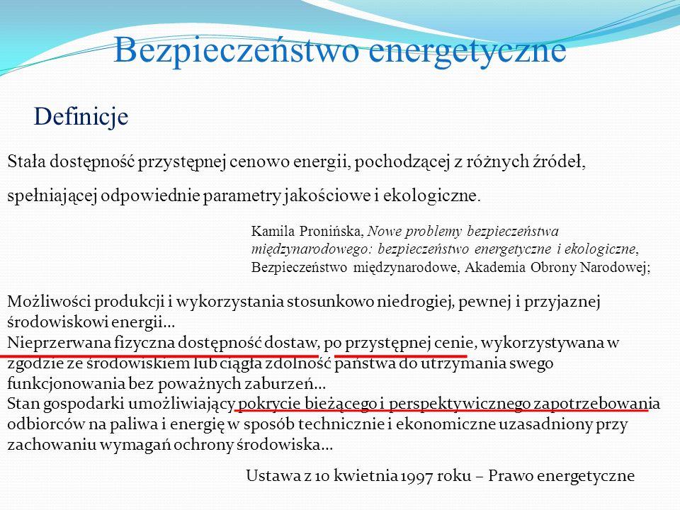 Definicje Stała dostępność przystępnej cenowo energii, pochodzącej z różnych źródeł, spełniającej odpowiednie parametry jakościowe i ekologiczne.